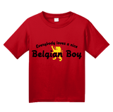 Youth Red Everybody Loves A Nice Belgian Boy - Belgian Pride Belgium Love T-shirt