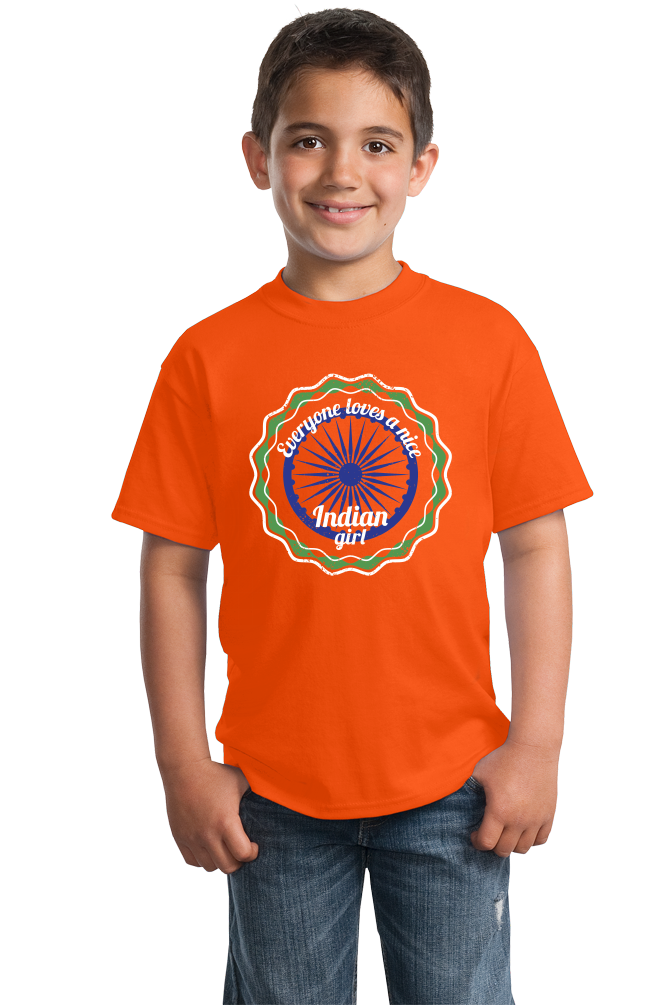 Youth Orange Everyone Loves A Nice Indian Girl - India Pride Heritage Gift T-shirt