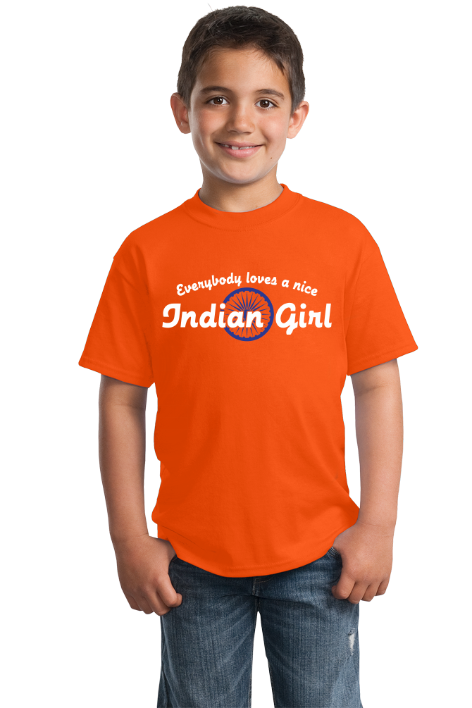 Youth Orange Everybody Loves A Nice Indian Girl -India Pride Heritage Gift T-shirt