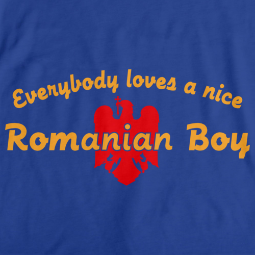 EVERYBODY LOVES A NICE ROMANIAN BOY Royal Blue art preview