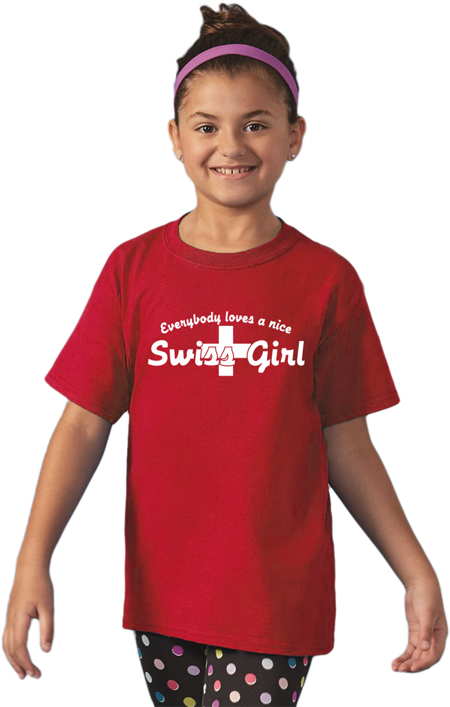 Youth Red Everyone Loves A Nice Swiss Girl - Switzerland Pride Heritage T-shirt