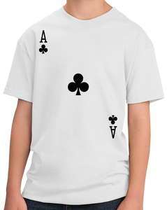 Youth White Ace Of Clubs - Magician Poker Player Card Games Funny Costume T-shirt