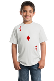 Youth White Ace Of Diamonds - Magician Poker Player Card Games Funny Costume T-shirt