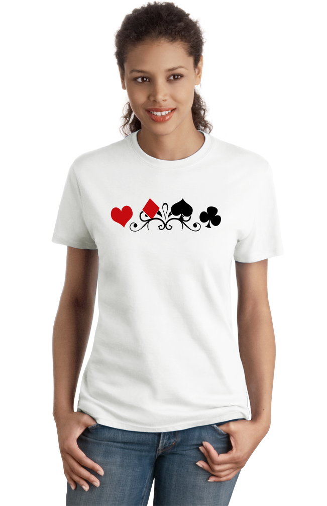 Ladies White Card Suits - Gambler Poker Player Magician Gambling Cardshark T-shirt