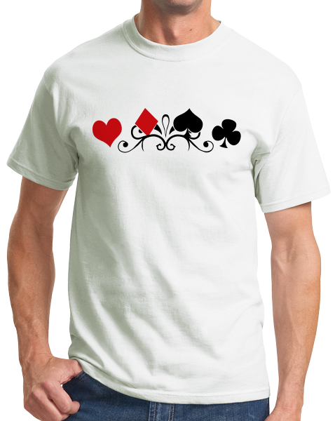 Standard White Card Suits - Gambler Poker Player Magician Gambling Cardshark T-shirt