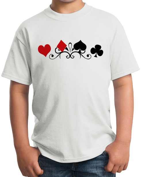 Youth White Card Suits - Gambler Poker Player Magician Gambling Cardshark T-shirt