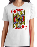 Ladies White Jack Of Diamonds - Card Player Costume Magician Gambler Fun T-shirt