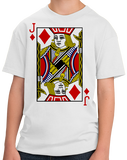 Youth White Jack Of Diamonds - Card Player Costume Magician Gambler Fun T-shirt