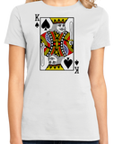 Ladies White King Of Spades - Card Player Face Funny Gambling Magic Poker T-shirt