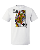 Standard White Queen Of Clubs - Magician Cardshark Gambler Face Card Humor Joke T-shirt