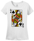 Ladies White Queen Of Spades - Magician Costume Gambler Face Card Funny T-shirt