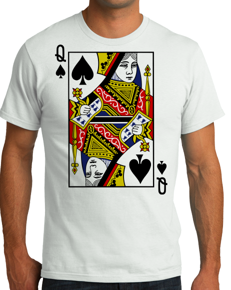 Standard White Queen Of Spades - Magician Costume Gambler Face Card Funny T-shirt