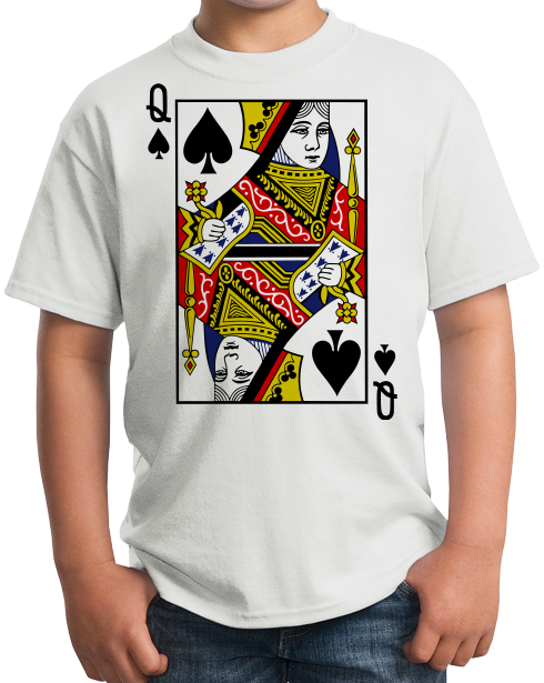 Youth White Queen Of Spades - Magician Costume Gambler Face Card Funny T-shirt