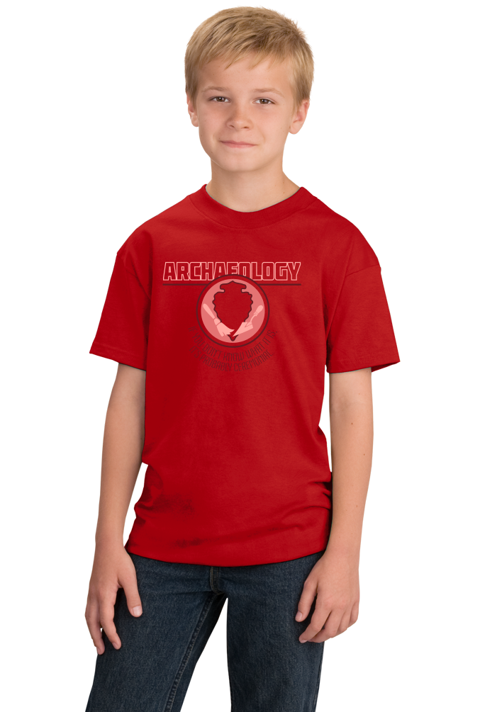 Youth Red College Major Archaeology - Indiana Jones Relics Dig Funny Joke T-shirt