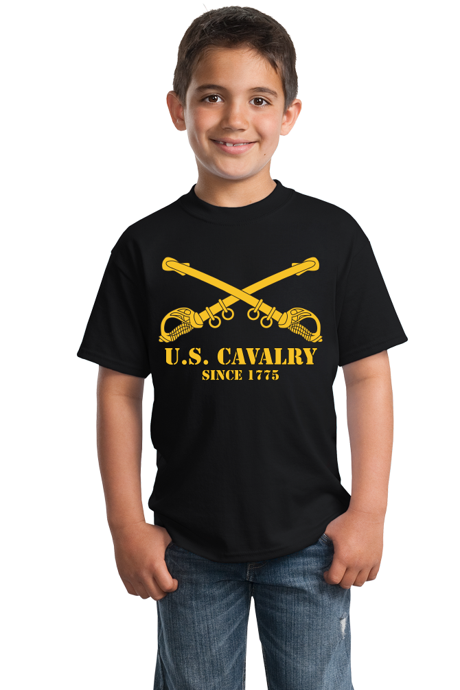 Youth Black U.S. ARMY CAVALRY, SINCE 1775 T-shirt