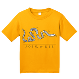 Youth Gold Join Or Die - American Revolution Ben Franklin Liberty Patriot T-shirt