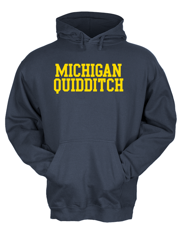Pullover Hoodie Navy Michigan Quidditch Wordmark Hooded T-shirt