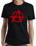 Ladies Black ANARCHY DISTRESSED SYMBOL T-shirt