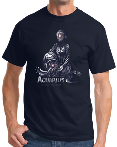 Standard Navy Aquarius Astrology - Horoscope Astrological Star Sign New Age T-shirt