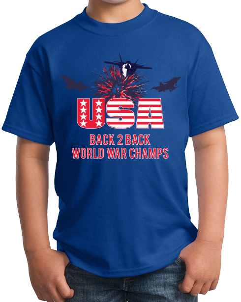 Youth Royal America: Back 2 Back World War Champs - US History Pride Funny T-shirt
