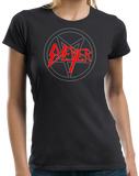 Ladies Black BIEBER SLAYER METAL HUMOR T-shirt
