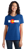 Ladies Royal Colorado State Flag Distressed T-shirt