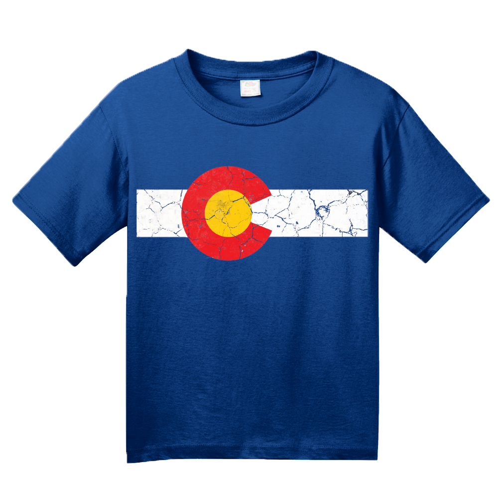 Youth Royal Colorado State Flag Distressed T-shirt