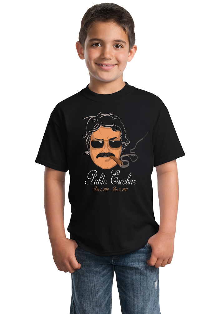 Youth Black Pablo Escobar - Scarface Narcos Columbian Drug Trade Cocaine T-shirt