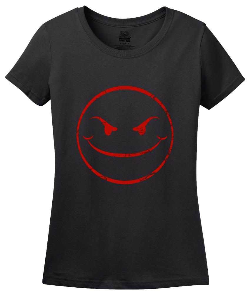 Ladies Black Evil Smiley Face T-shirt