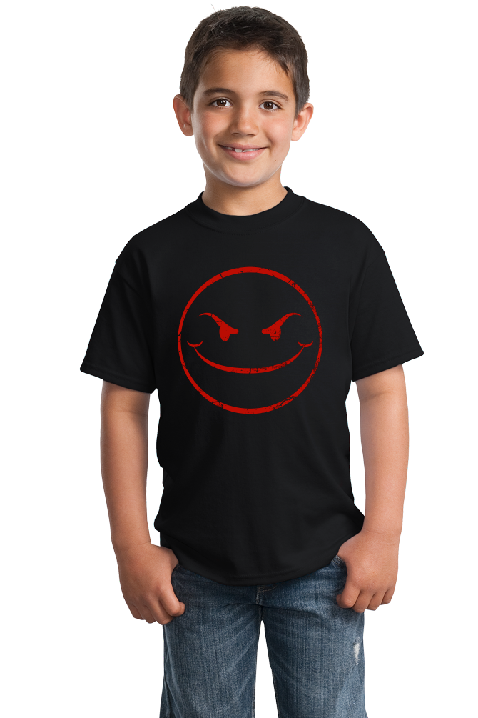 Youth Black Evil Smiley Face T-shirt