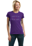 Ladies Purple French Kissing And Holding Hands - Awkward Cheesy Pick-Up Line T-shirt