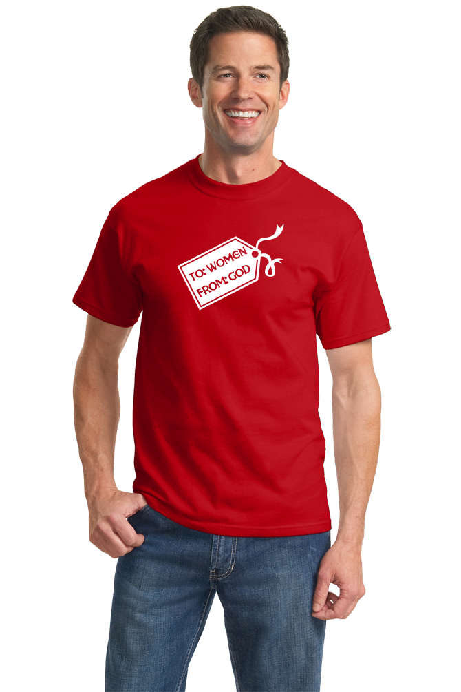 Standard Red God's Gift To Women - Cheesey Pick-Up Line Awkward Funny Nerd T-shirt