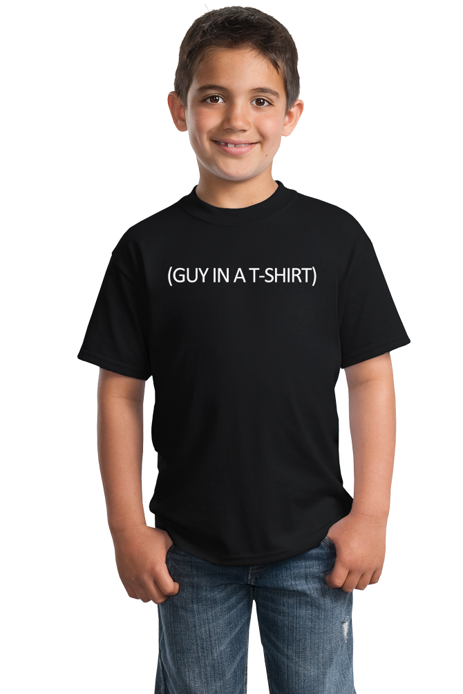 Youth Black (Guy In A ) Cheap Halloween Costume - Stupid Joke Costume T-shirt