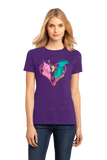 Ladies Purple Hold Your Horses in Your Heart - Horse Lover Horseback Riding