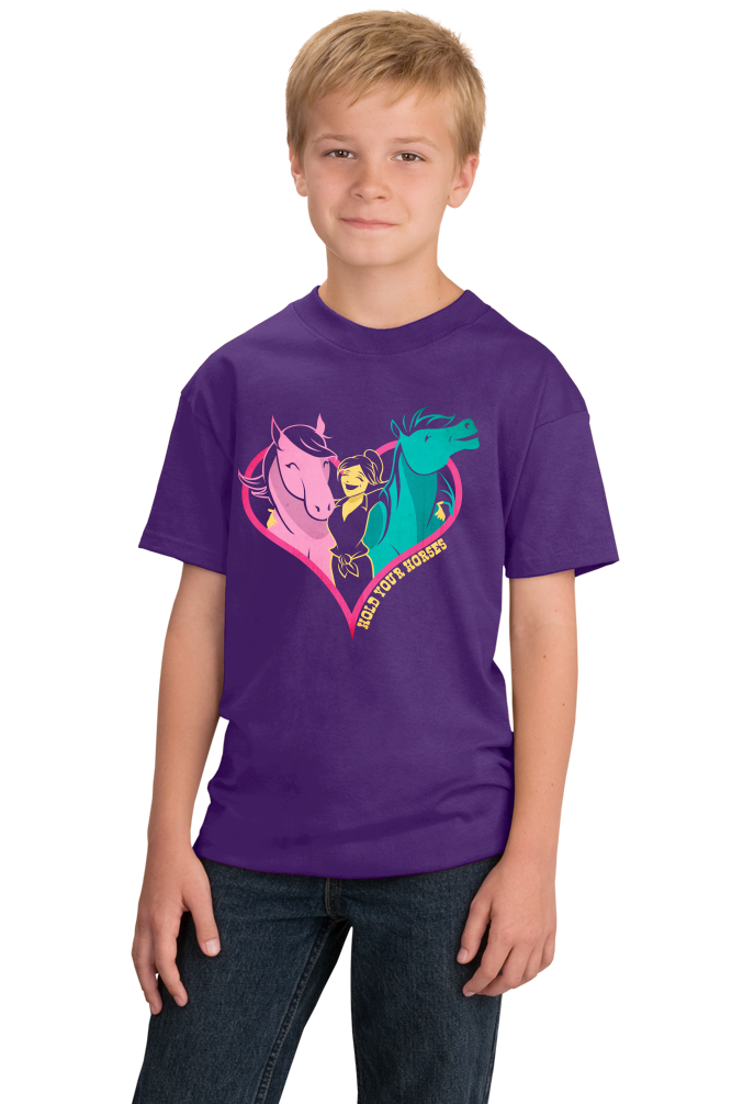 Youth Purple Hold Your Horses in Your Heart - Horse Lover Horseback Riding
