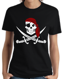 Ladies Black Jolly Roger Pirate Flag Tee T-shirt