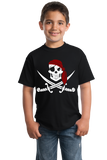 Youth Black Jolly Roger Pirate Flag Tee T-shirt