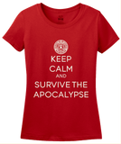 Ladies Red KEEP CALM AND SURVIVE THE APOCALYPSE T-shirt