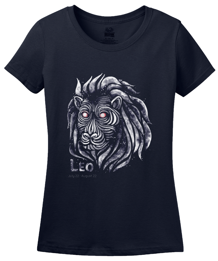 Ladies Navy Star Sign: Leo - Horoscope Astrology Astrological Sign Lion T-shirt