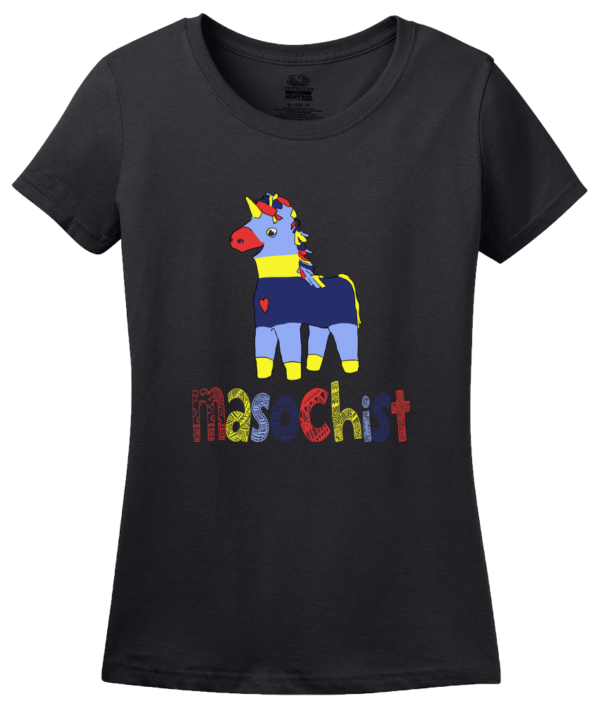 Ladies Black Masochist (Pinata) - Funny Pinata S/M Joke Silly Party Sub Humor T-shirt