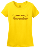 Ladies Yellow MOVEMBER MUSTACHE MONTH T-shirt