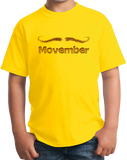 Youth Yellow MOVEMBER MUSTACHE MONTH T-shirt