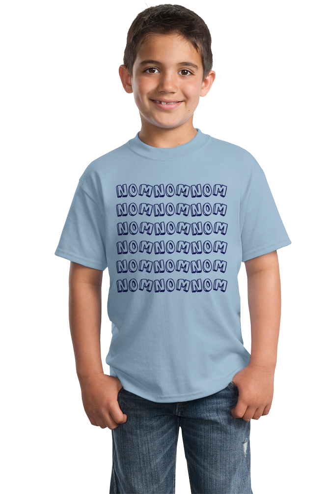 Youth Light Blue Nom Nom Nom - Cookie Monster Foodie Word Meme Eating Love Funny T-shirt