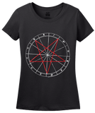 Ladies Black Pentagram - Wicca Santanism Majick Occult Conjure Sigil Goth T-shirt