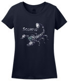 Ladies Navy Star Sign: Scorpio - Horoscope Astrology Astrological Scorpion T-shirt