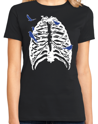 Ladies Black Skeleton Rib Cage With Songbirds! - Halloween Hipster Artsy T-shirt
