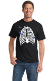 Standard Black Skeleton Rib Cage With Songbirds! - Halloween Hipster Artsy T-shirt
