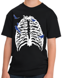Youth Black Skeleton Rib Cage With Songbirds! - Halloween Hipster Artsy T-shirt