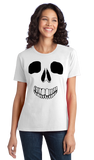 Ladies White Skeleton Face - Skull Spooky Halloween Fun Silly Hipster T-shirt