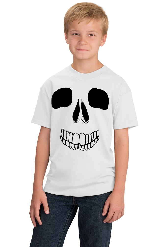 Youth White Skeleton Face - Skull Spooky Halloween Fun Silly Hipster T-shirt